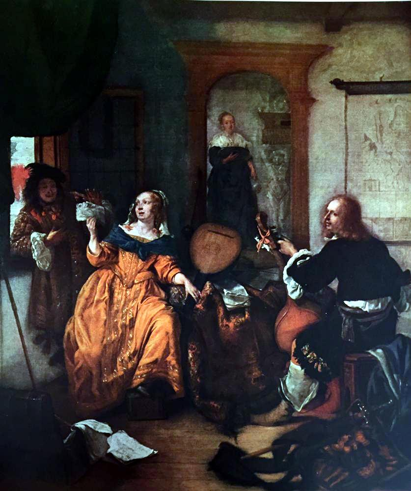 Masterpieces of Dutch Painting Gabriel Metsu: The Music Lesson c.1659 Fine Art Print from Museum Artist - Click Image to Close